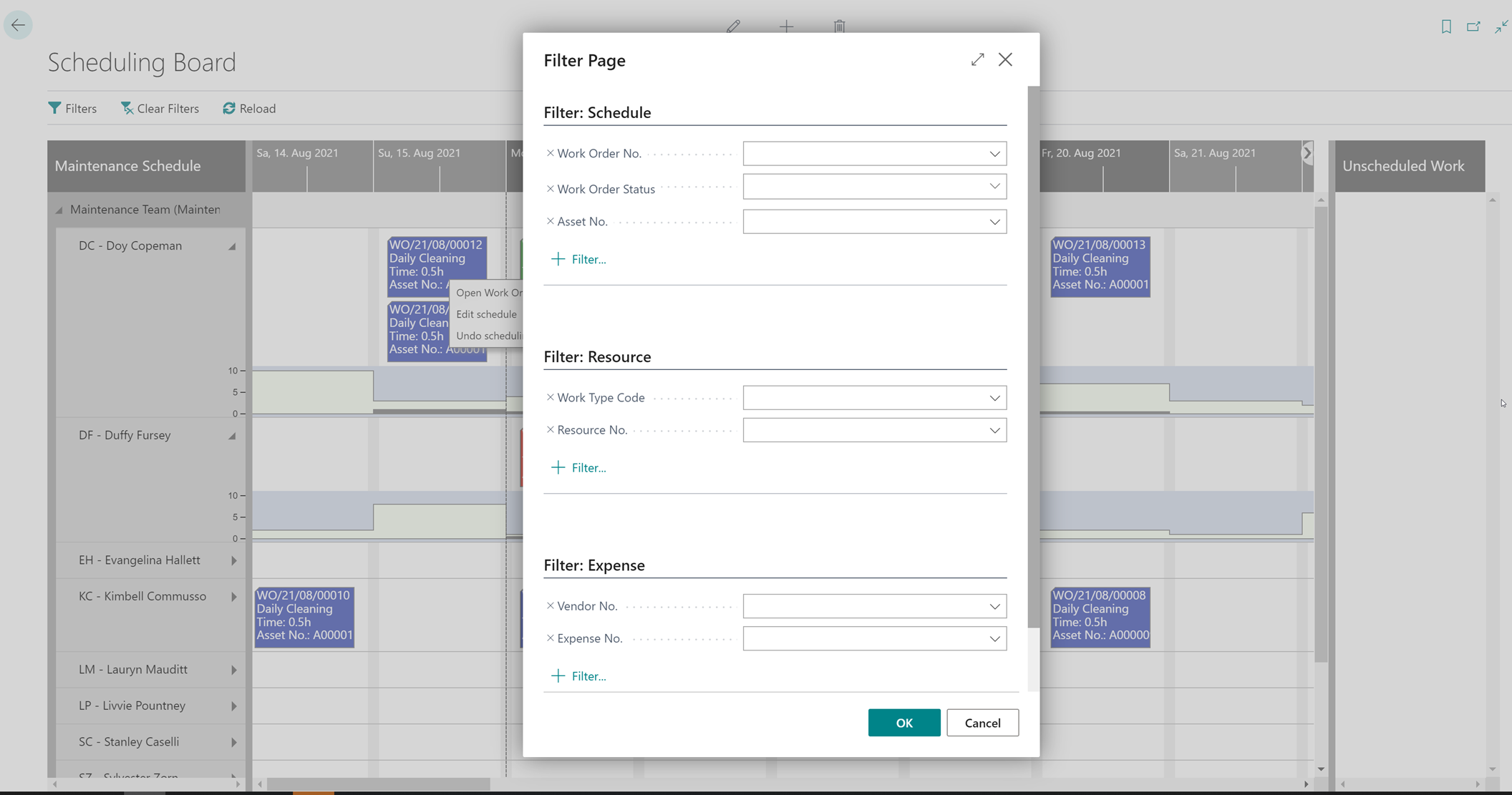 dynaway scheduling board fully integrated