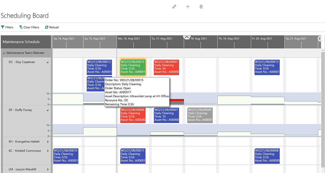 dynaway scheduling board with tooltip 2