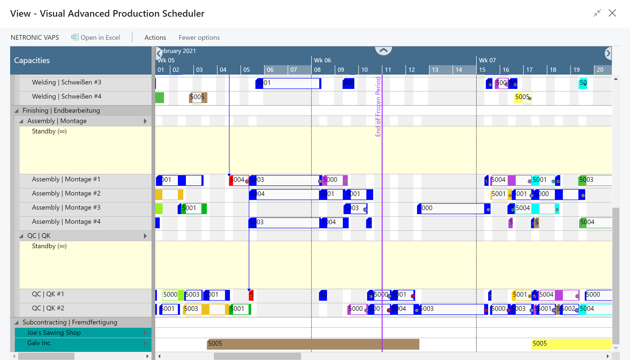 Visual Advanced Production Scheduler for Microsoft Dynamics 365 Business Central - Downstream Impact of Finite Capacity Scheduling