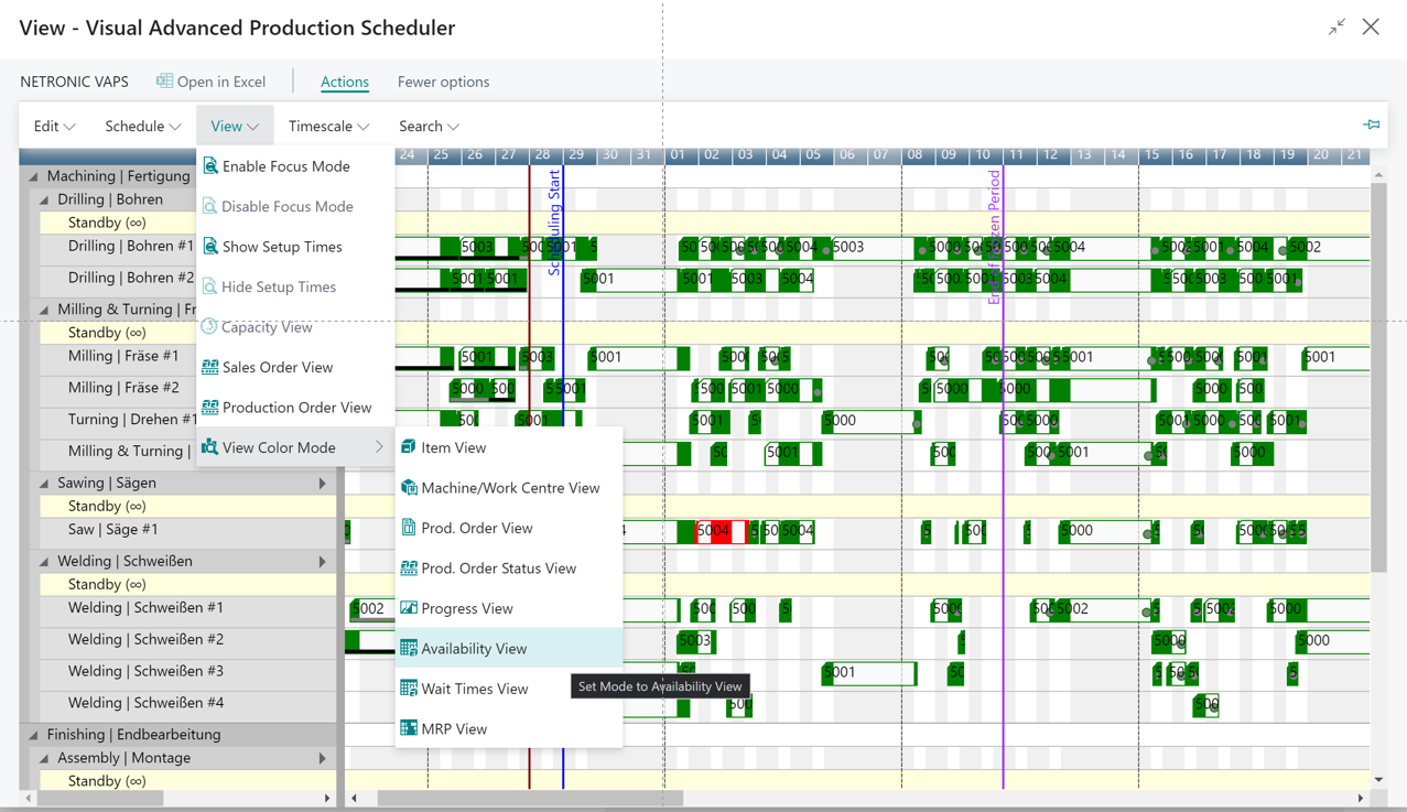 Visual Advanced Production Scheduler for Microsoft Dynamics 365 Business Central - Material availability view