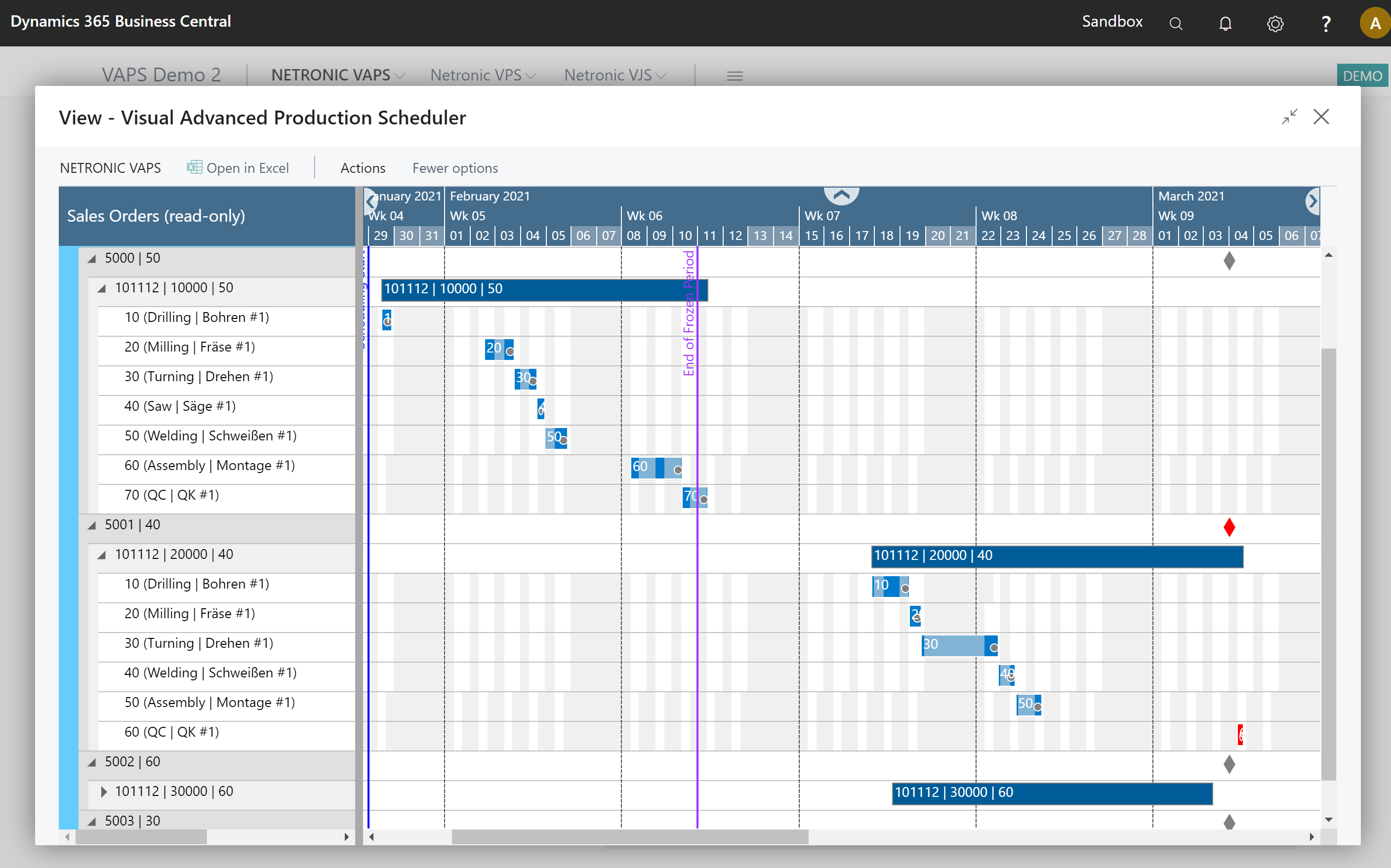 Visual Advanced Production Scheduler for Microsoft Dynamics 365 Business Central - Sales Order View