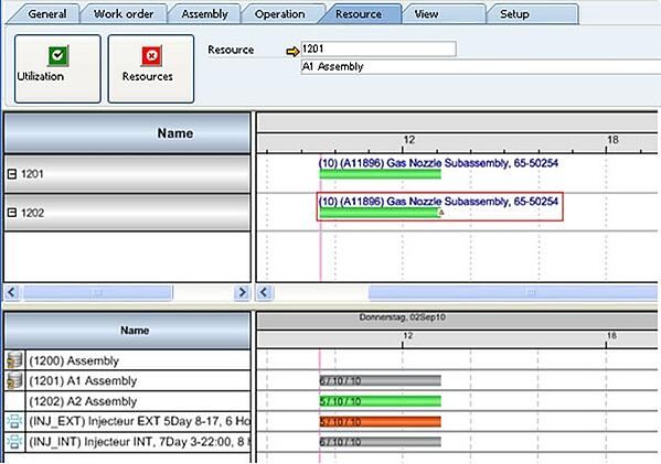 NETRONIC reference beas: Gantt chart in APS module for SAP Business ONE