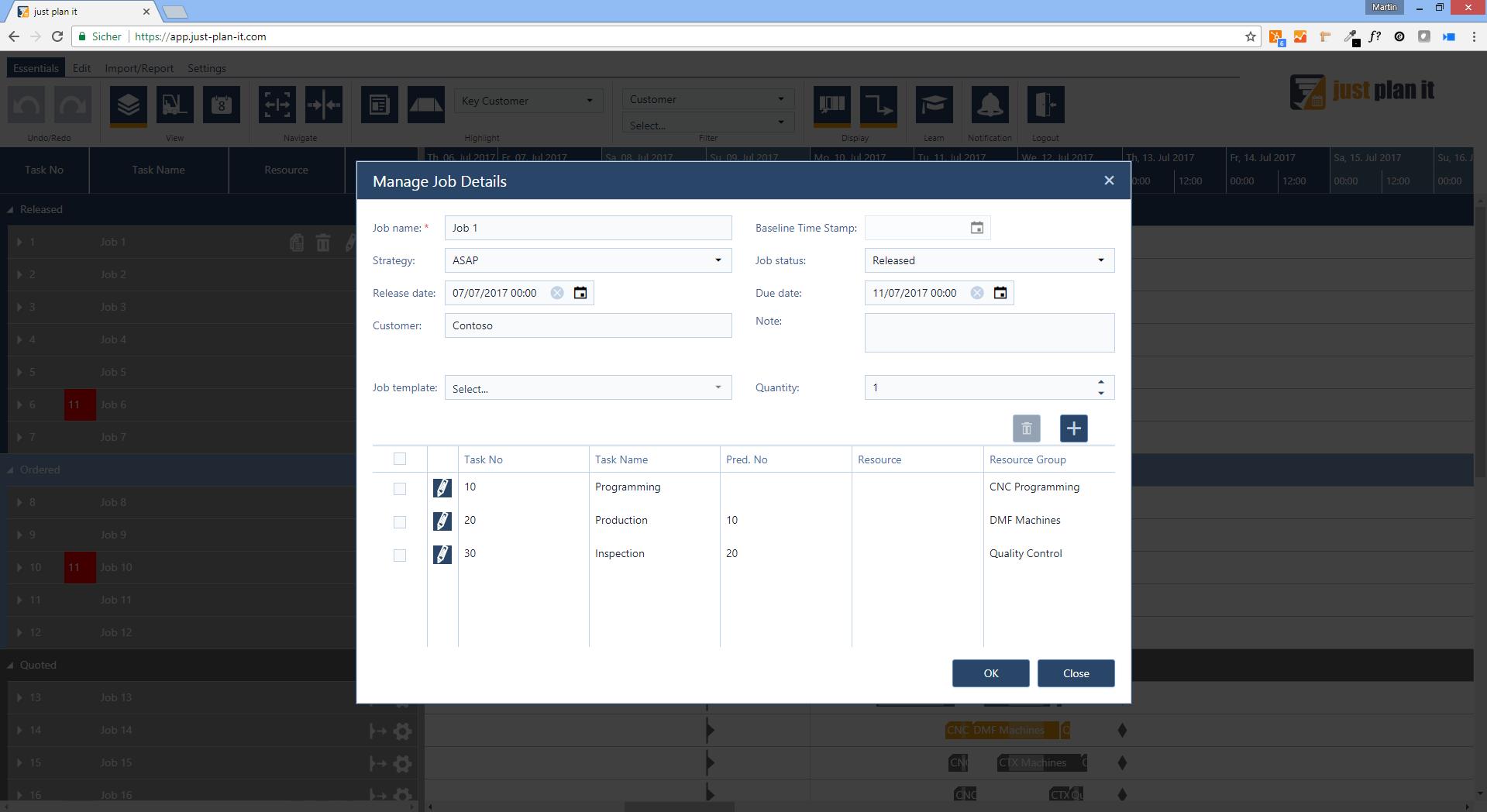 Jop Shop Scheduling Software | Create a new job | just plan it - made by NETRONIC