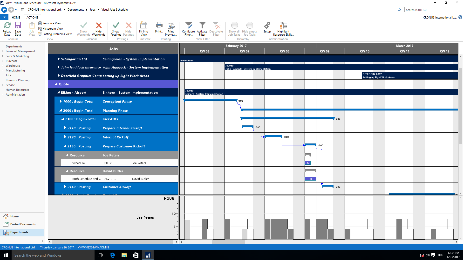 Visual Jobs Scheduler -Projekplan für Dynamics NAV
