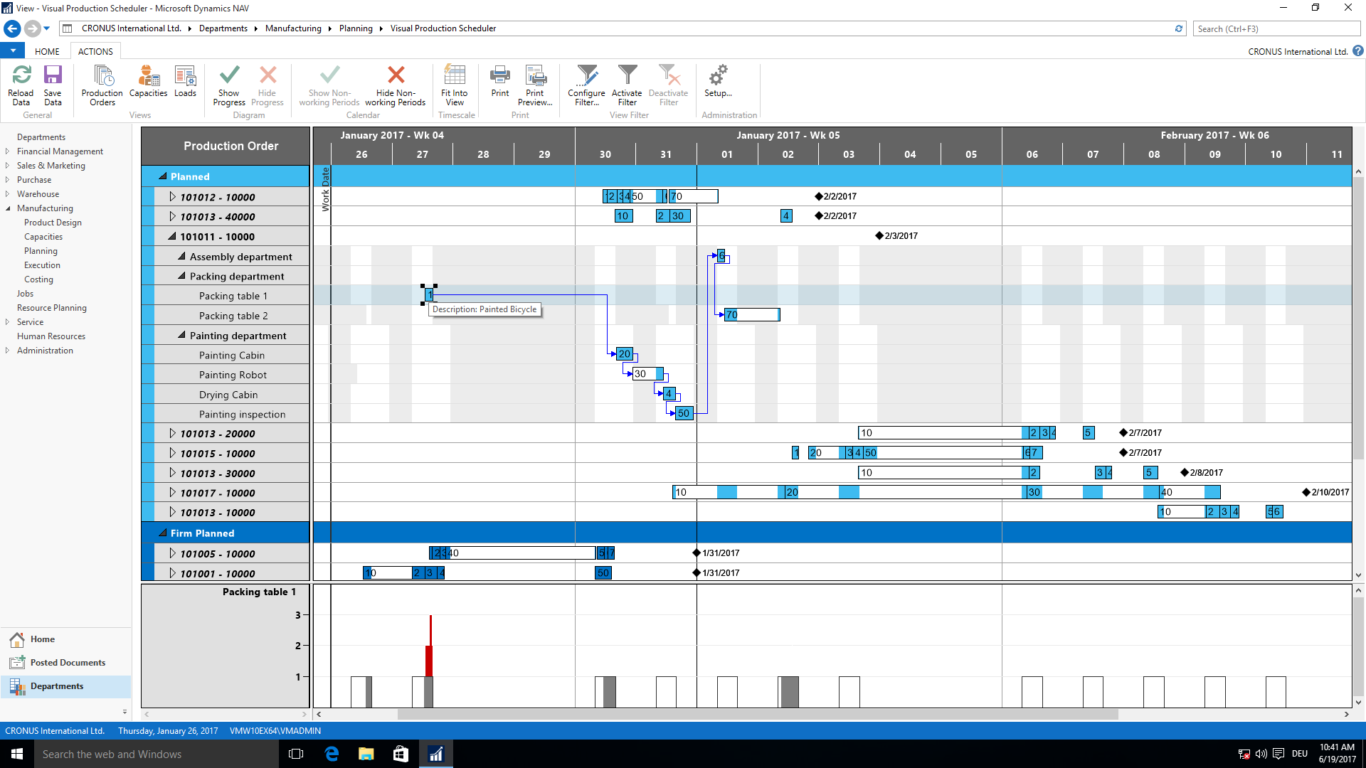 Für Dynamics NAV - Visual Production Scheduler - Fertigungsauftragsansicht
