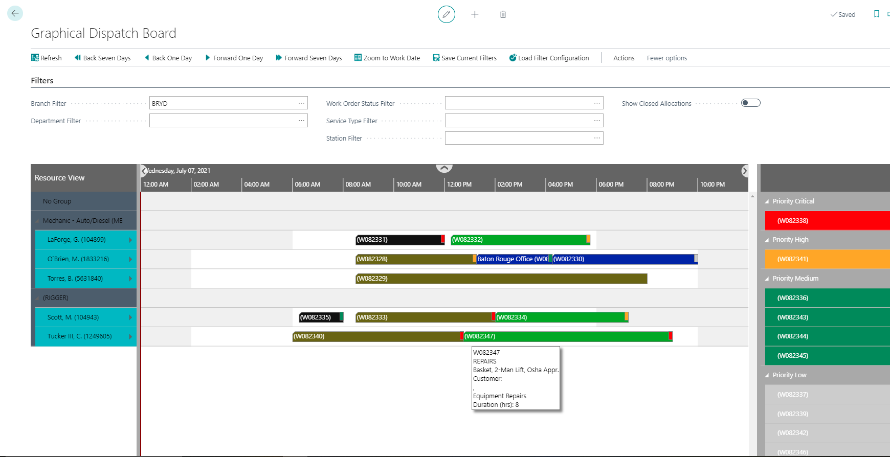 Graphical dispatch board for service planning in Dynamics 365 BC