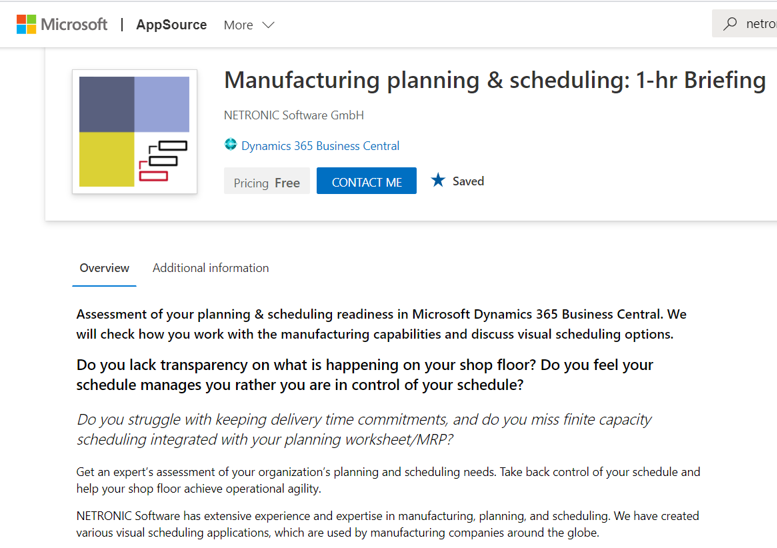 Visual Scheduling Consulting Services now on AppSource